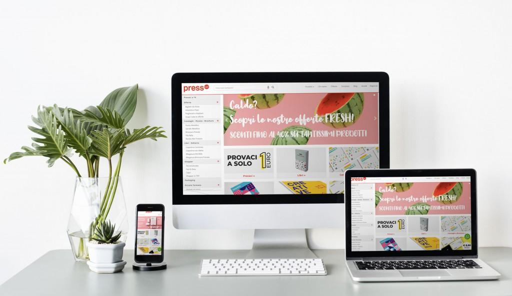 PressUP, il sito web su mobile, desktop e portatile.